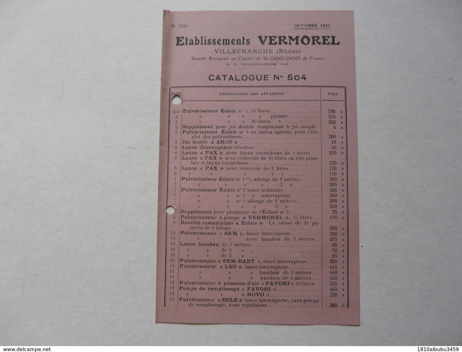 VIEUX .PAPIERS - PUBLICITE  : VERMOREL - Villefranche Sur Saône - Catalogue N°504 - Reclame