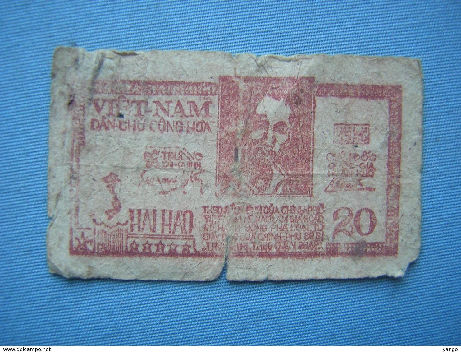PETIT BILLET VIETNAM - DAN CHU CONG HOA - 20 DONGS - Vietnam