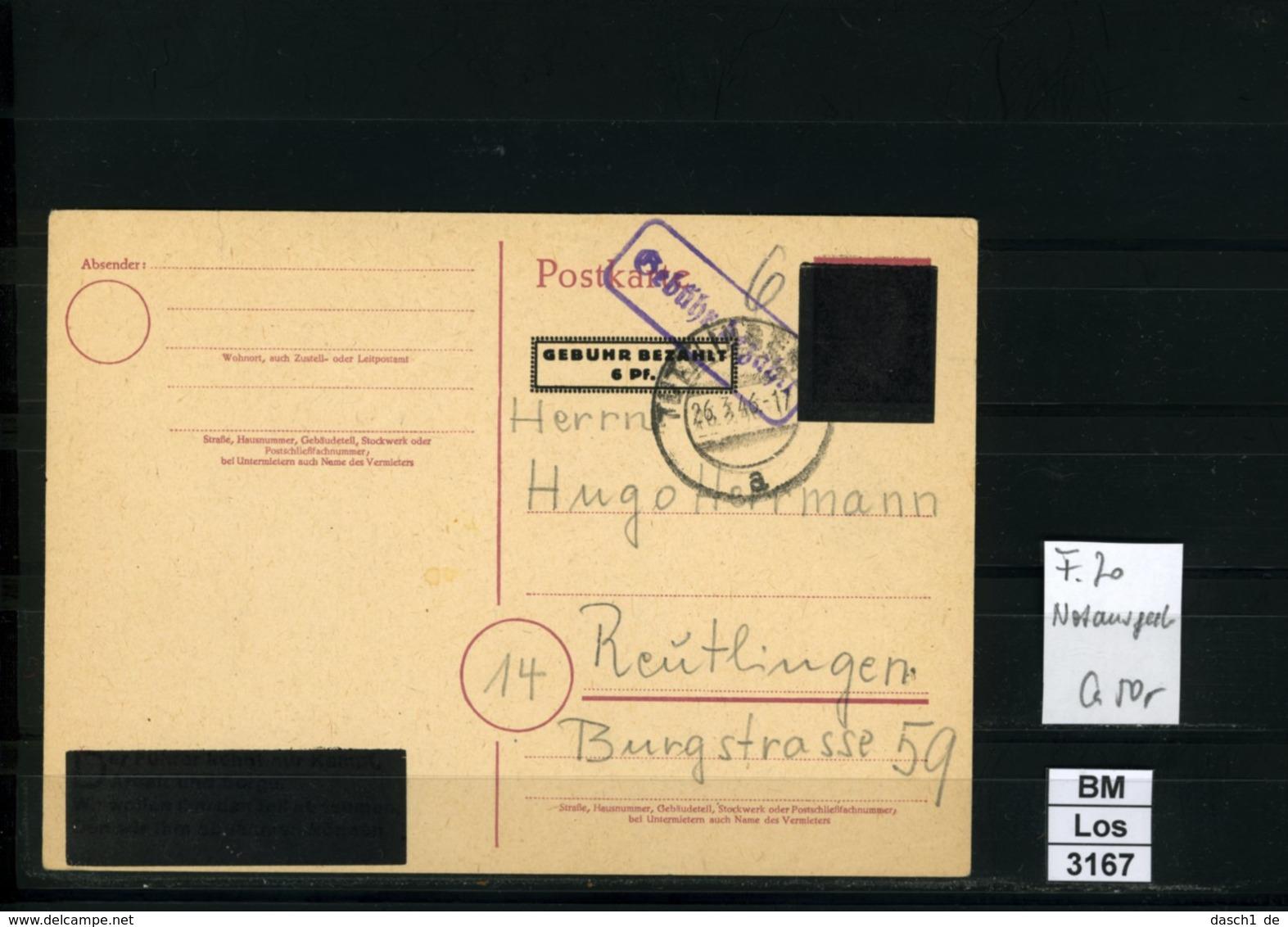 All. Bes., Ganzsachen, Notausgabe Mit Gebühr Bezahlt Stempel, Von Leidringen, 26.03.1946 - Gemeinschaftsausgaben