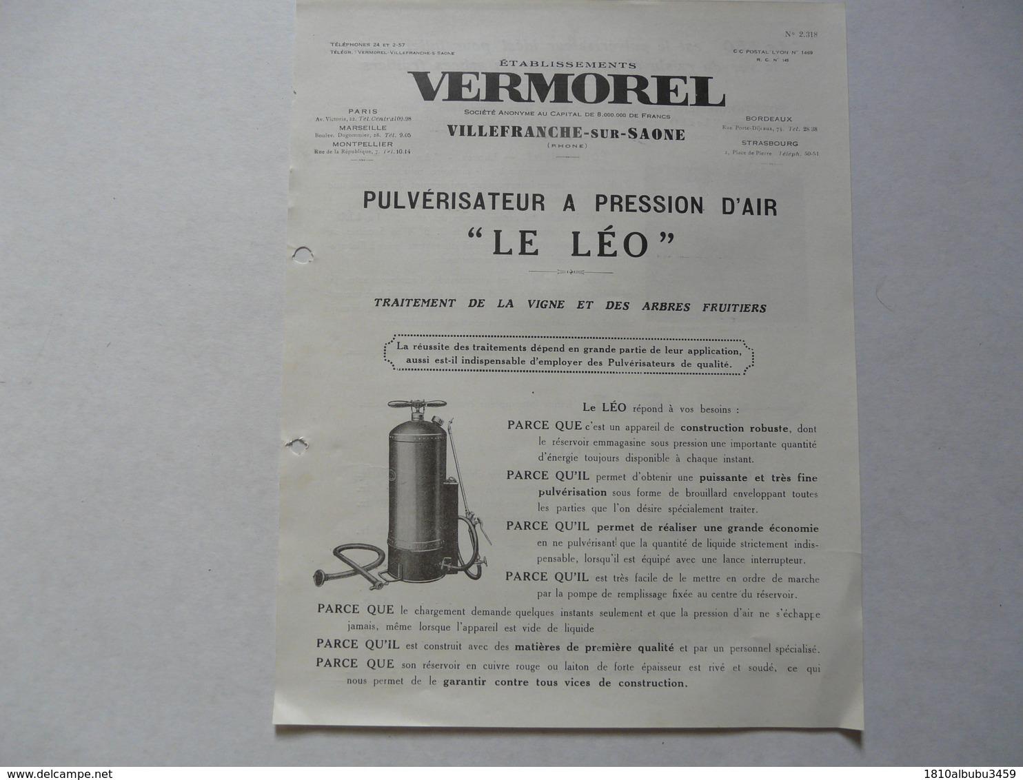 """VIEUX .PAPIERS - PUBLICITE  : VERMOREL - Villefranche Sur Saône - Pulvérisateur à Pression D'air """"Le Léo"""" - Advertising"""
