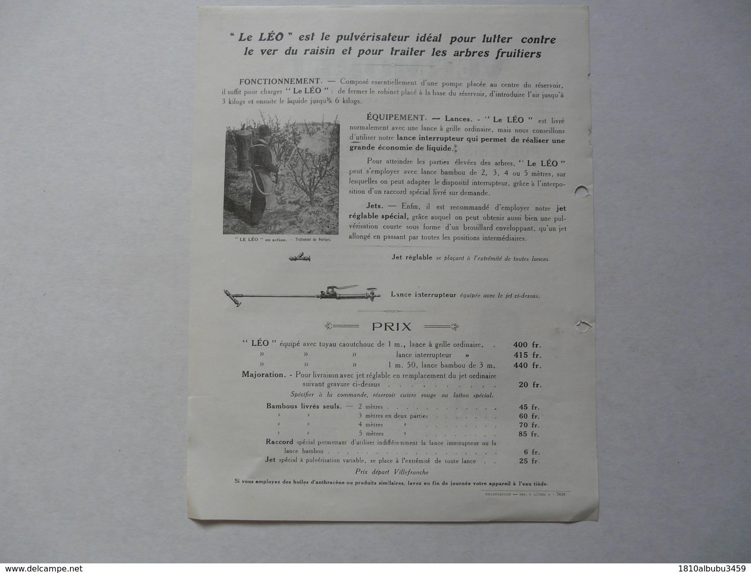 """VIEUX .PAPIERS - PUBLICITE  : VERMOREL - Villefranche Sur Saône - Pulvérisateur à Pression D'air """"Le Léo"""" - Reclame"""