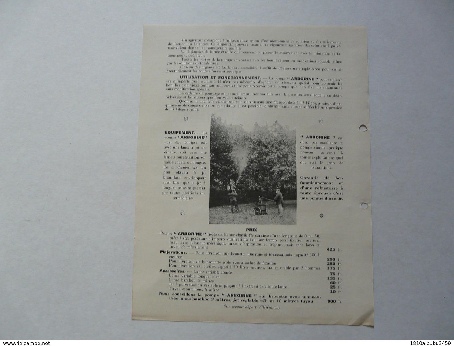 """VIEUX .PAPIERS - PUBLICITE  : VERMOREL - Villefranche Sur Saône - Pompe """"ARBORINE"""" - Reclame"""