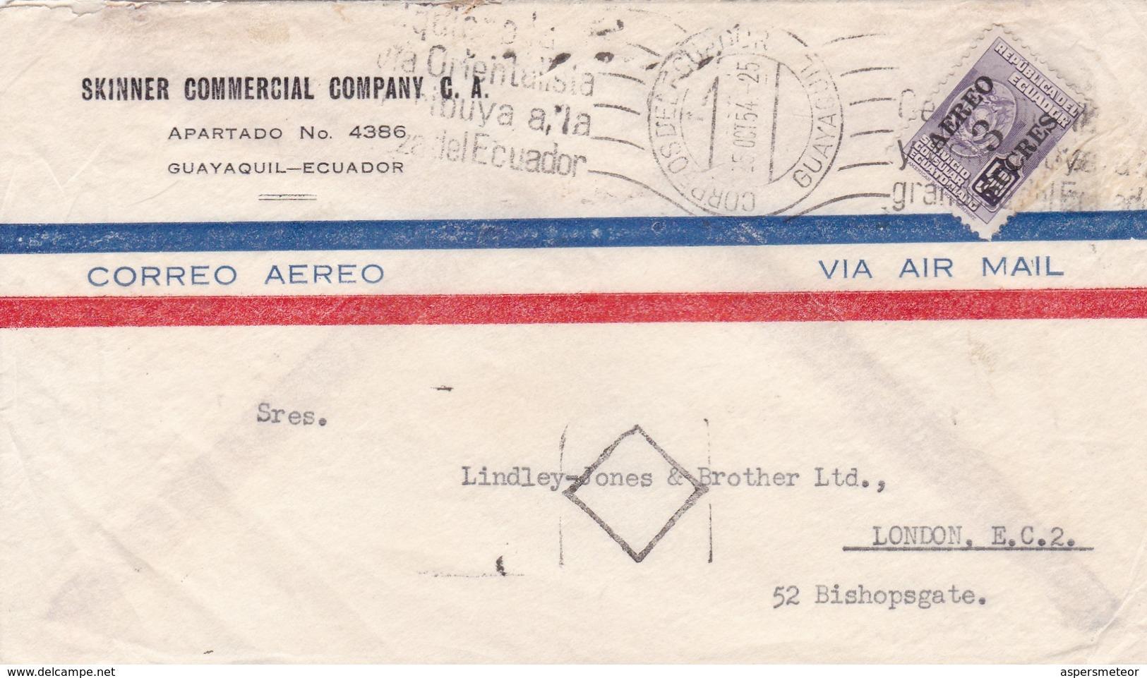 1954 COMMERCIAL COVER- SKINNER COMMERCIAL COMPANY CA. CIRCULEE ECUADOR TO LONDON. STAMP SURCH, BANDELETA PARLANTE- BLEUP - Equateur