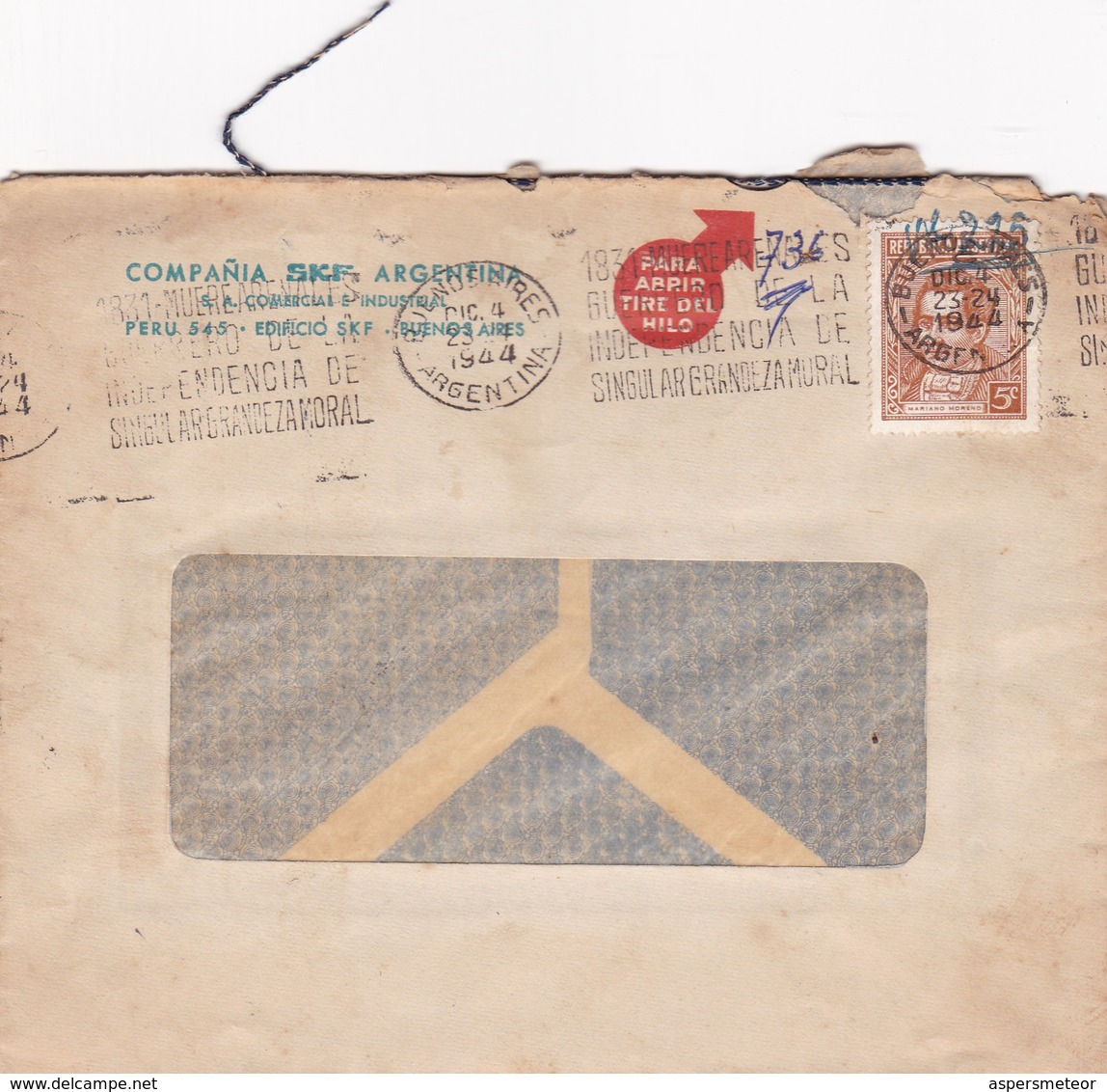 1944 COMMERCIAL COVER- COMPAÑIA SKF ARGENTINA. CIRCULEE BUENOS AIRES ARGENTINE, BANDELETA PARLANTE- BLEUP - Lettres & Documents