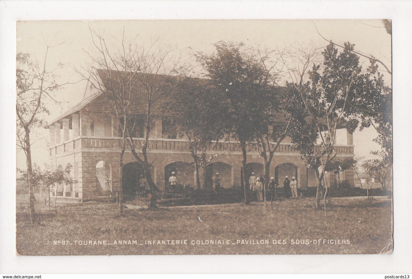 G-896 Annam Vietnam Tourane Infanterie Coloniaie Officers Real Photo Postcard - Postcards