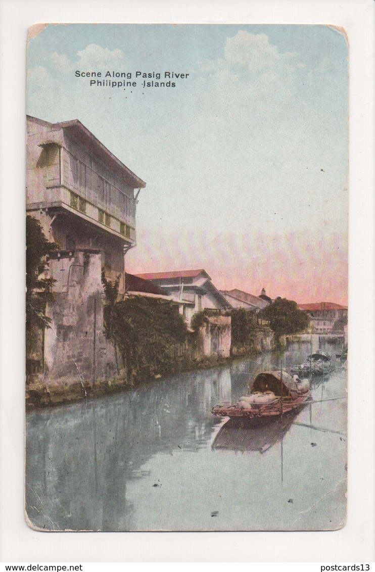 J-881 Scene Along Pasig River Philippines Alimonan Road Early Postcard - Other