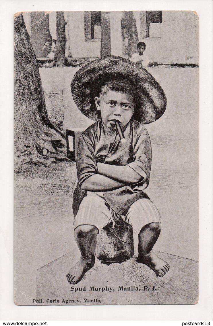 J-967 Manila Philippines Islands Spud Murphy Boy With Cigar 1909 Postcard - Postcards