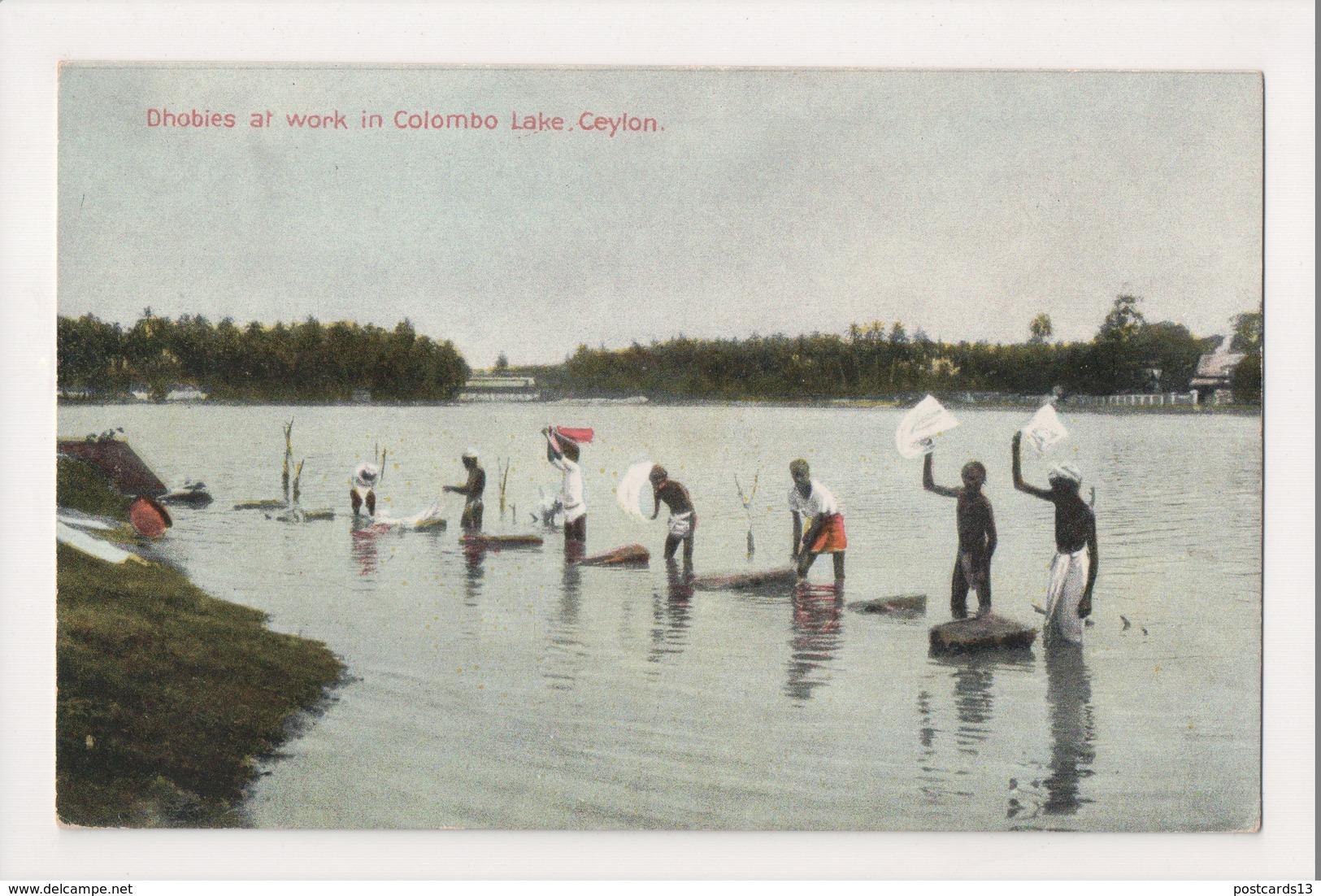 K-357 Ceylon Colombo Lake Sri Lanka Dhobies At Work Vintage Postcard - Other
