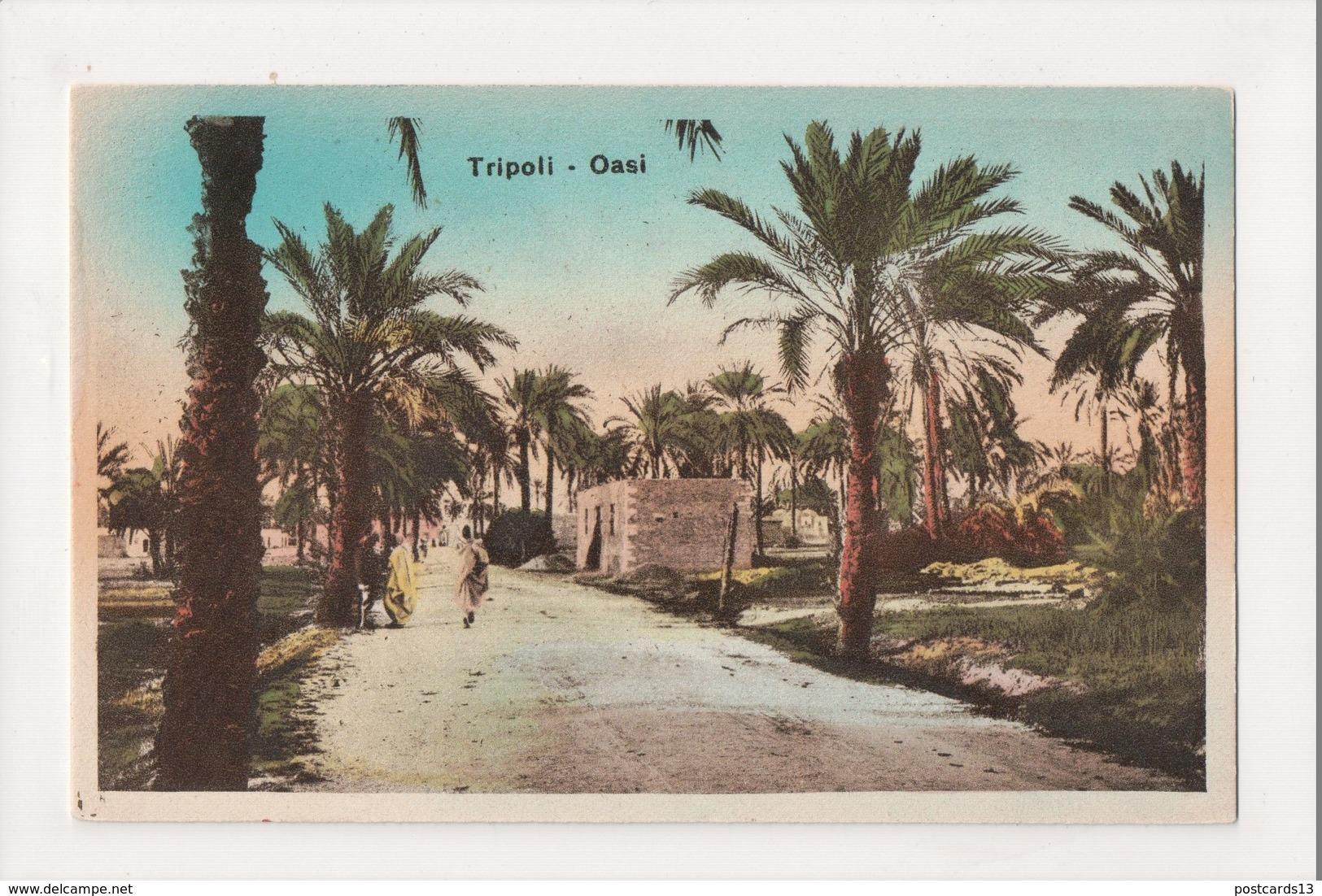 K-397 Libya Tripoli Oasi Hand Colored Vintage Postcard - Libya
