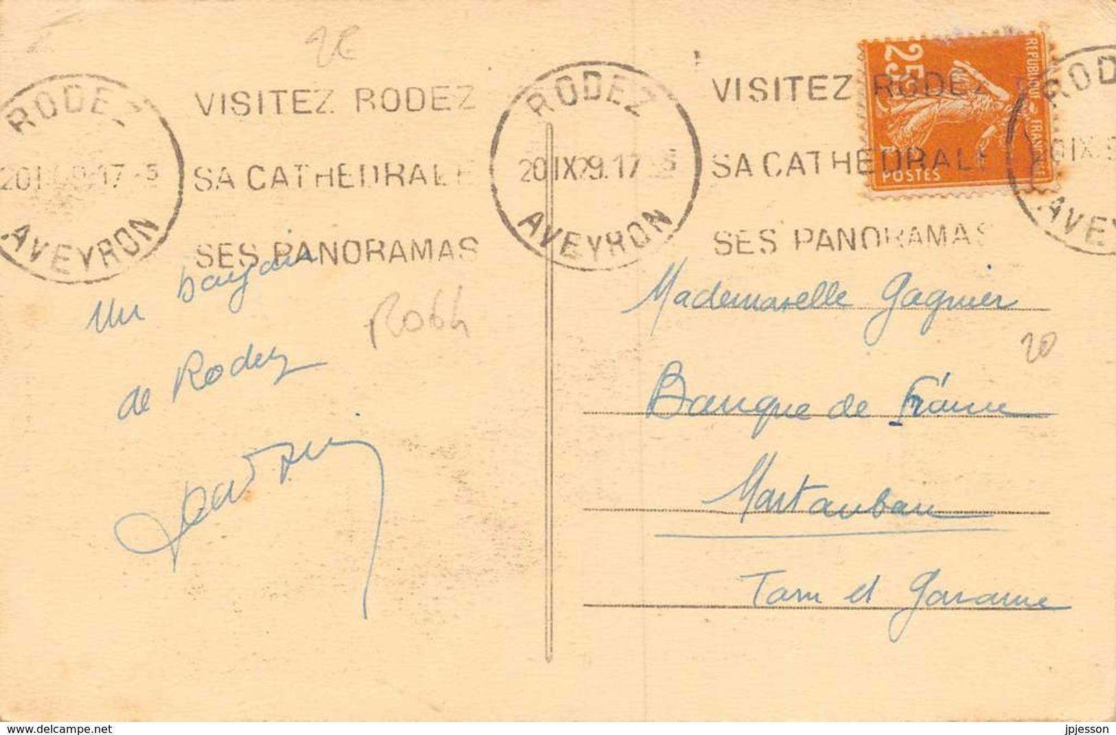 AVEYRON  12  RODEZ  LE JARDIN PUBLIC - CACHET - Rodez