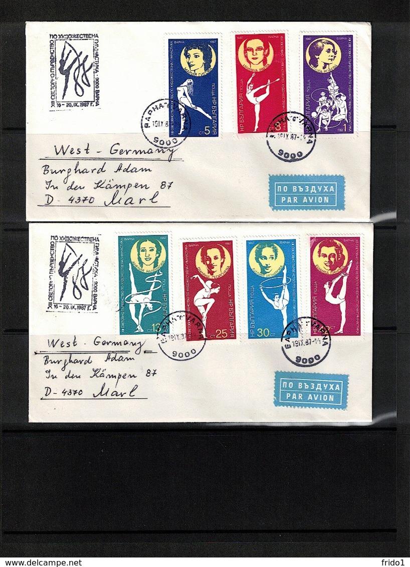 Bulgaria 1987 Michel 3588-3593 + 3594 World  Gymnastics Championship Interesting Covers - Gymnastik