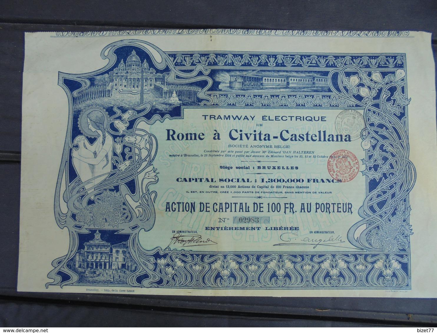 ART NOUVEAU - ITALIE , 1904 - TRAMWAY ELECTRIQUE DE ROME A CIVITA - CATELLANA- ACTION 100 FRS - BELLE ILLUSTRATION - Shareholdings