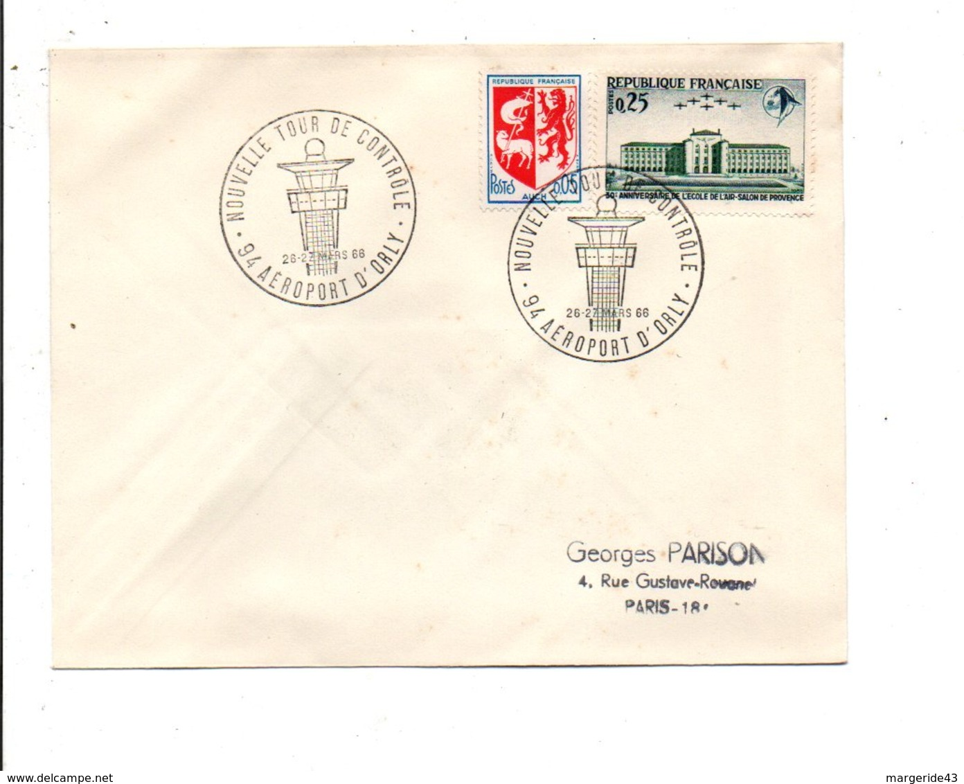 OBLITERATION NOUVELLE TOUR DE CONTROLE AEROPORT D'ORLY 1966 - Postmark Collection (Covers)