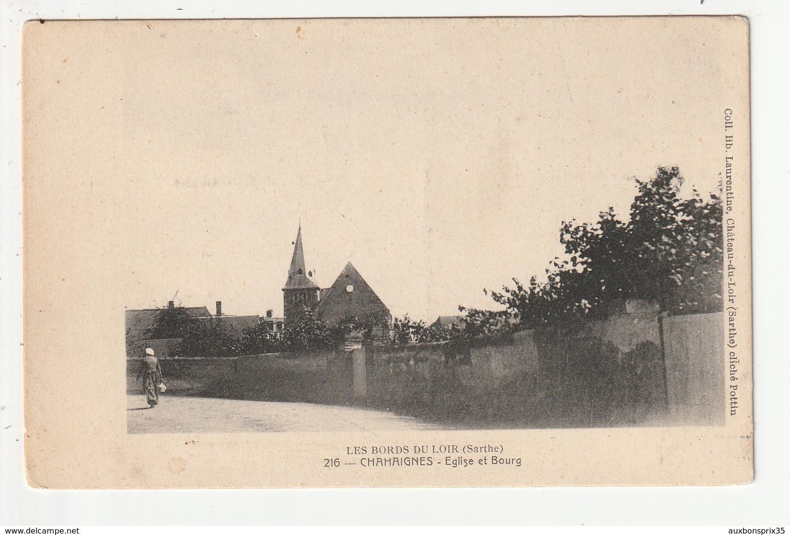 LES BORDS DU LOIR - CHAHAIGNES - EGLISE ET BOURG - 72 - France