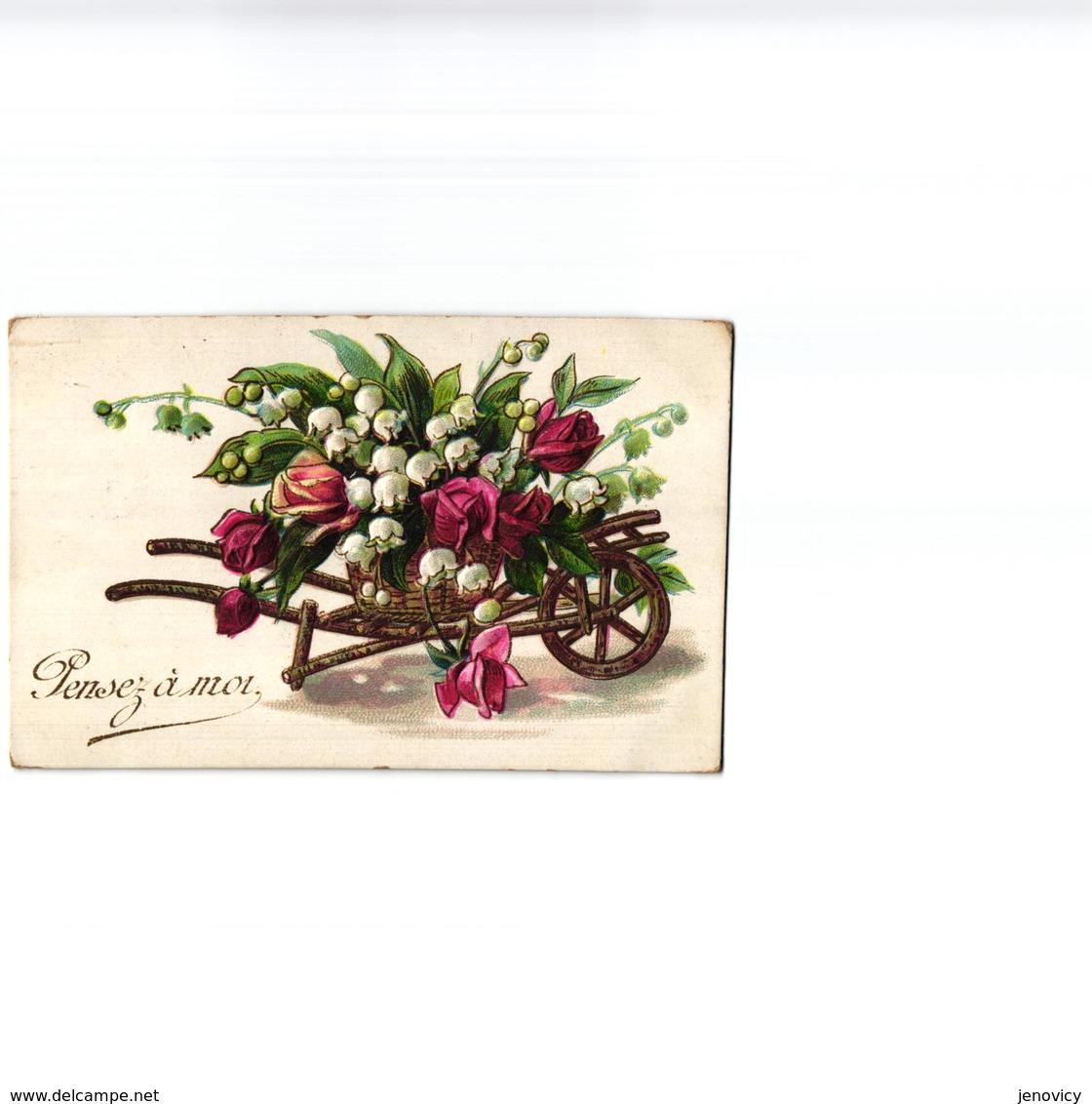 CARTE GAUFREE ,BROUETTE DE MUGUET ET ROSES REF 60392 - Fiori