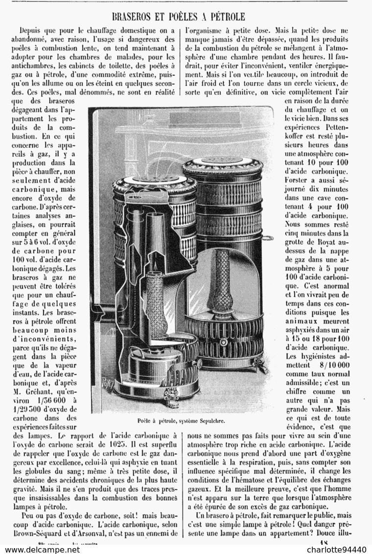 BRASEROS Et POELES à PETROLE  1901 - Scienze & Tecnica