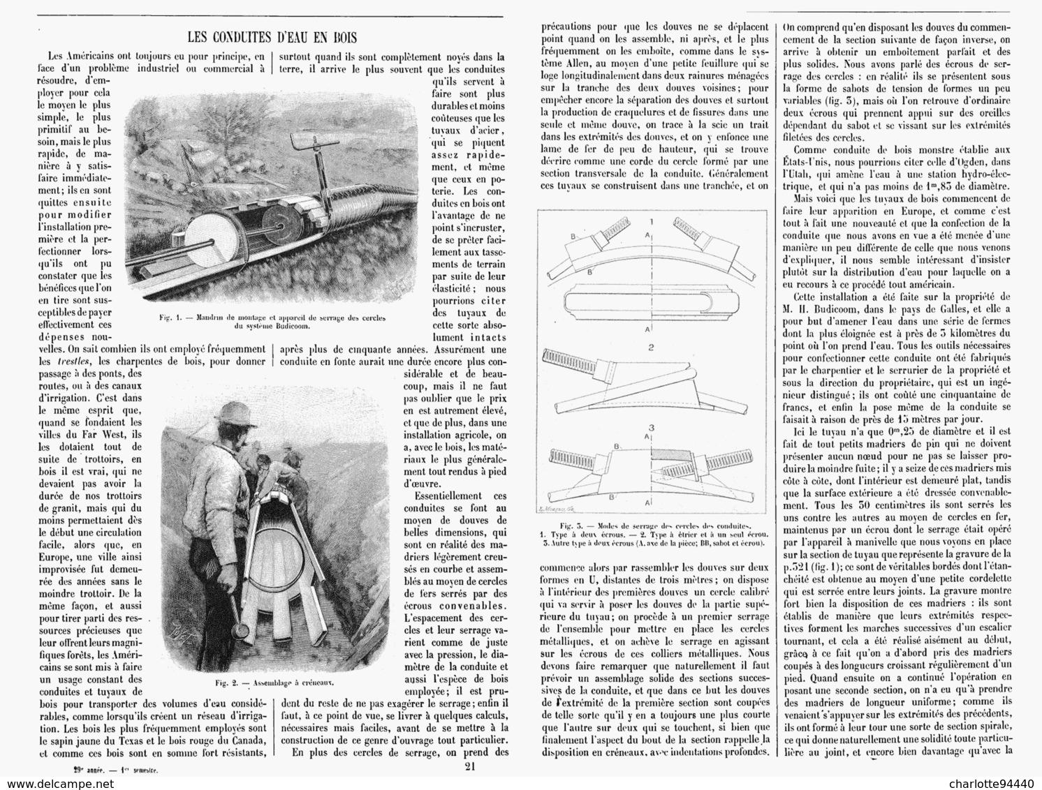LES CONDUITES D'EAU En BOIS    1901 - Technical