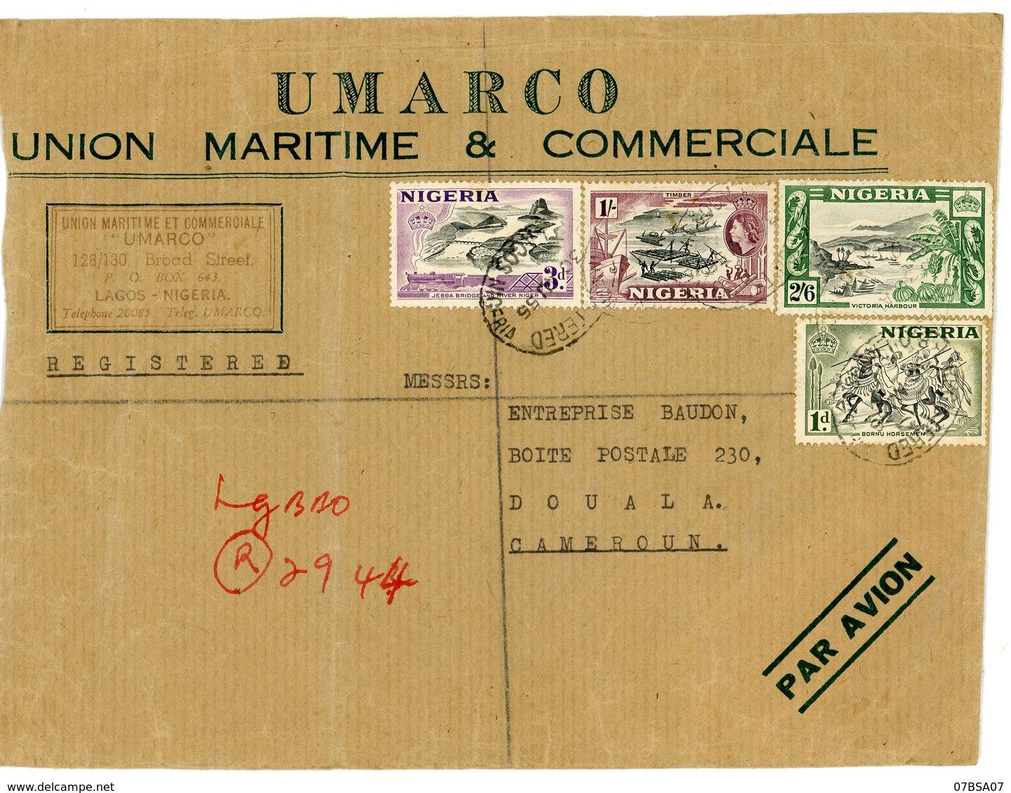 NIGERIA ENV 1955 LAGOS LETTRE RECOMMANDEE => CAMEROUN - Nigeria (...-1960)