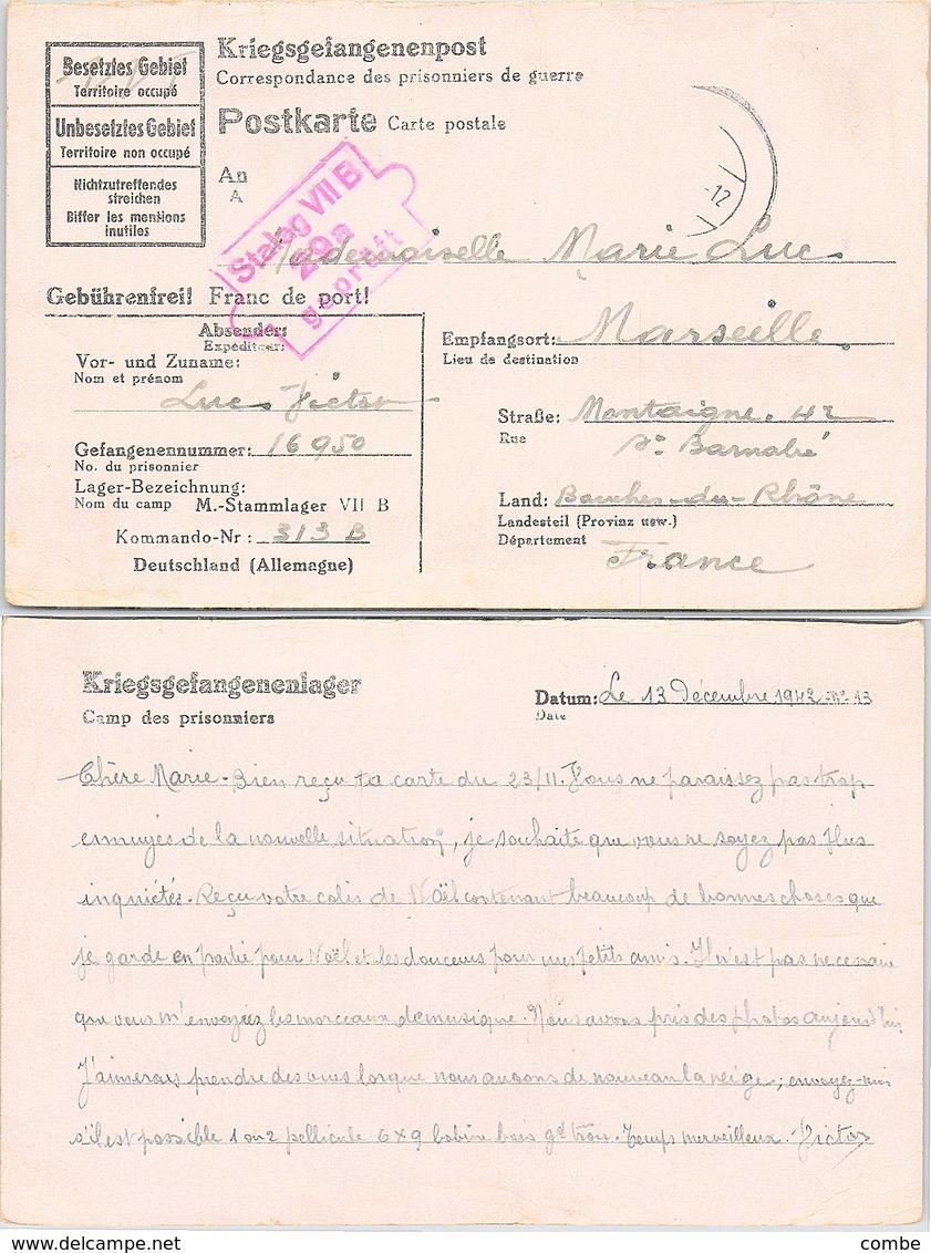 KRIEGSGELANGENENPOST DECEMBRE 1942  STAMMLAGER VII B TO FRANCE - Allemagne