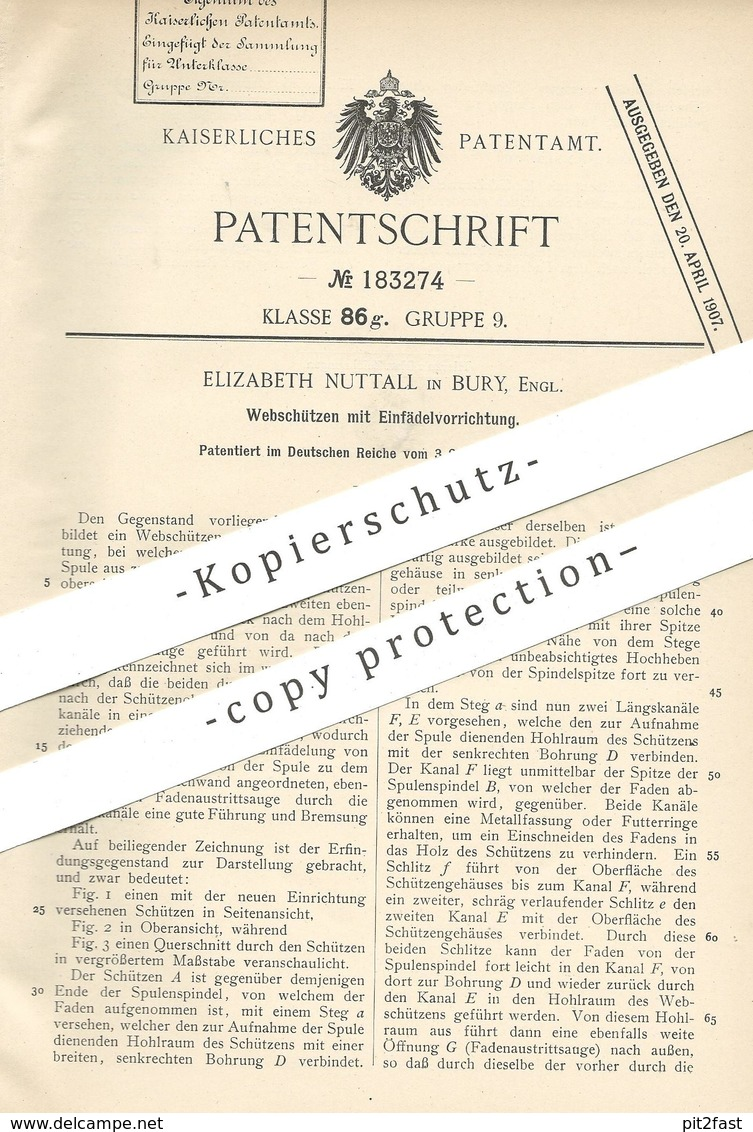 Original Patent - Elizabeth Nuttall , Bury , England 1904 , Webschützen Mit Einfädelvorrichtung | Webschütze , Webstuhl - Historische Dokumente