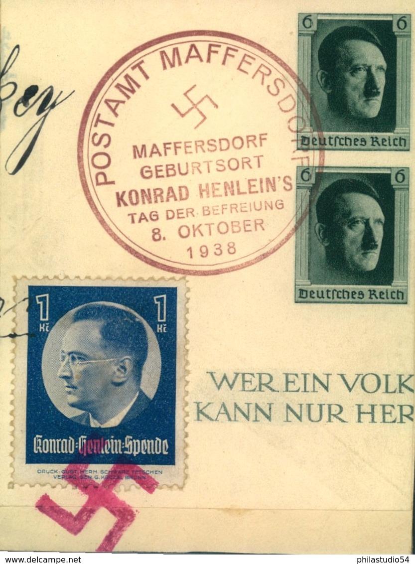 """1938, SUDETENLAND, Briefteil Mit SSt MAFFERSDORF Und Vignette """"Konrad Henlein Spende"""" - Germany"""