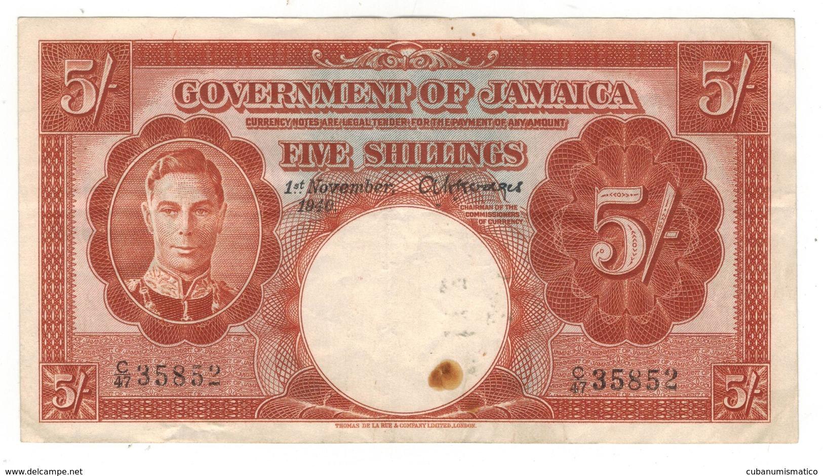 Jamaica, 5 Shillings 1940 , Crisp VF+. - Jamaique