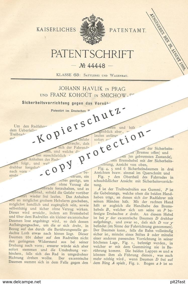 Original Patent - Johann Havlik , Prag | Franz Kohout , Smichow | 1888 , Schutz Vor Dem Vornüberstürzen Der Fahrräder !! - Historische Dokumente