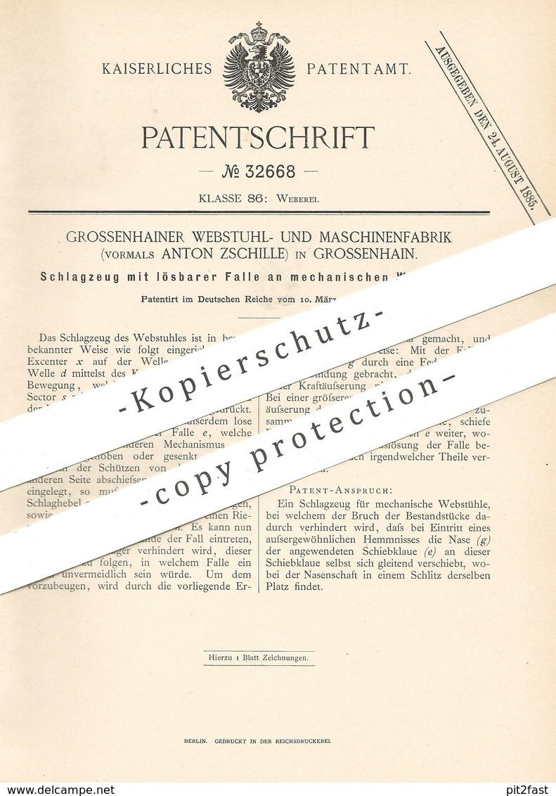 Original Patent - Webstuhl- U. Maschinenfabrik , Vorm. Anton Zschille , Grossenhain / Dresden | Schlagzeug Am Webstuhl - Historische Dokumente