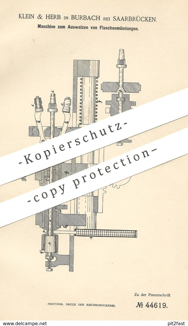 Original Patent - Klein & Herb , Burbach / Saarbrücken 1887 , Auswalzen V. Flaschenmündungen   Flasche , Flaschen , Glas - Historische Dokumente