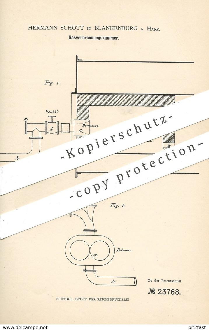 Original Patent - Hermann Schott , Blankenburg / Harz , 1883 , Gasverbrennungskammer | Gas - Verbrennungskammer | Ofen ! - Historische Dokumente