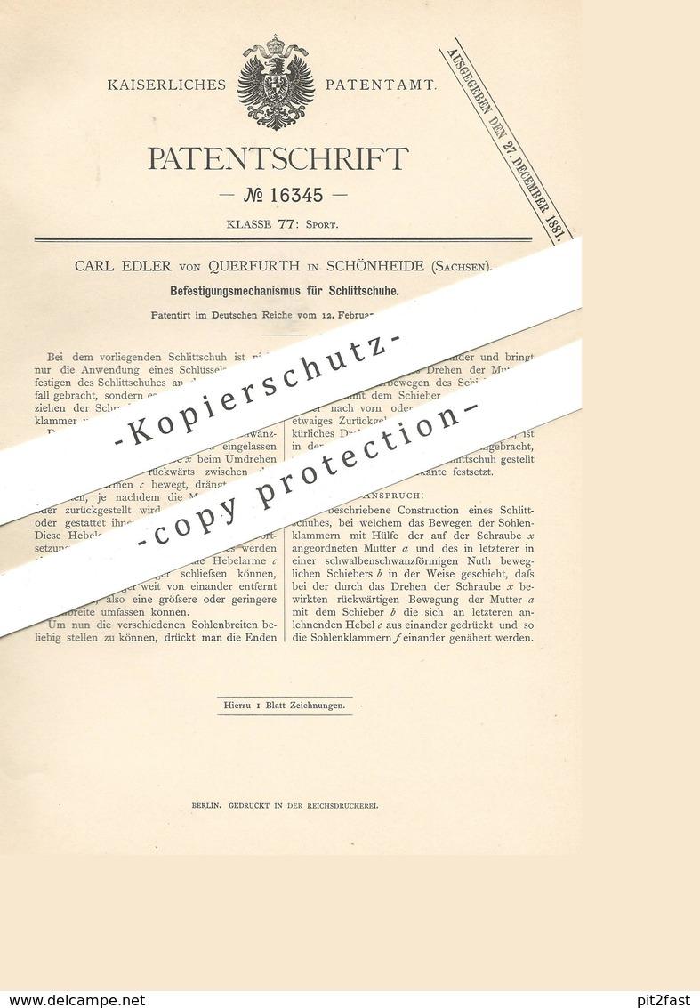 Original Patent - Carl Edler Von Querfurth , Schönheide / Sachsen , 1881 , Befestigungsmechanismus Für Schlittschuhe !!! - Historische Dokumente