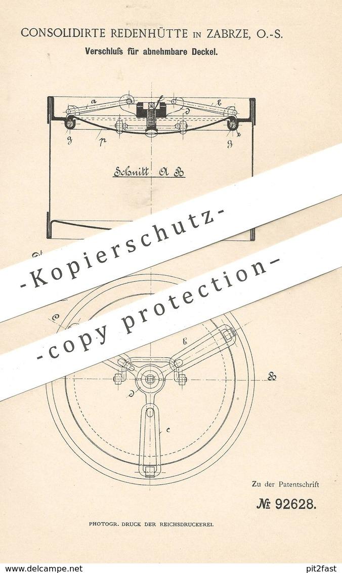 Original Patent - Consolidierte Redenhütte , Zabrze , 1896 , Verschluss Für Abnehmbare Deckel   Fass , Behälter , Glas - Historische Dokumente