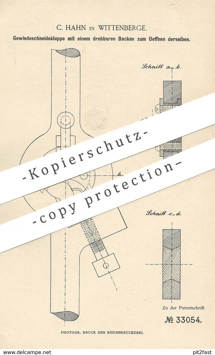 Original Patent - C. Hahn , Wittenberge , 1885 , Gewindeschneidekluppe | Kluppe , Messer , Klinge | Metall , Werkzeug - Historische Dokumente