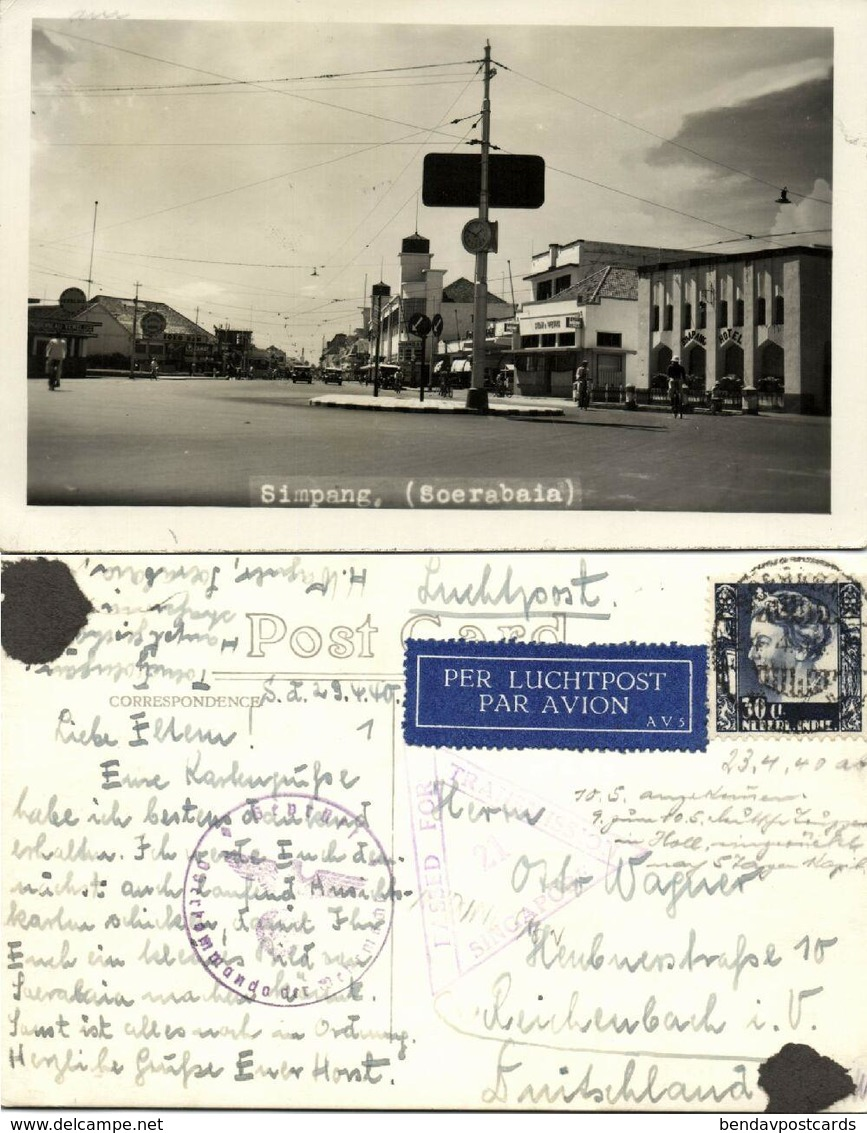 Indonesia, JAVA SOERABAIA, Simpang Hotel 1940 RPPC WWII Cancel Singapore Censor - Indonesië