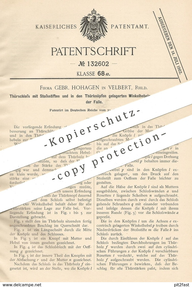 Original Patent - Gebrüder Hohagen , Velbert , 1901 , Türschloss   Türknopf   Tür - Schloss   Schlosser , Schlosserei ! - Historische Dokumente