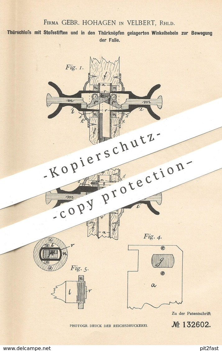 Original Patent - Gebrüder Hohagen , Velbert , 1901 , Türschloss | Türknopf | Tür - Schloss | Schlosser , Schlosserei ! - Historische Dokumente