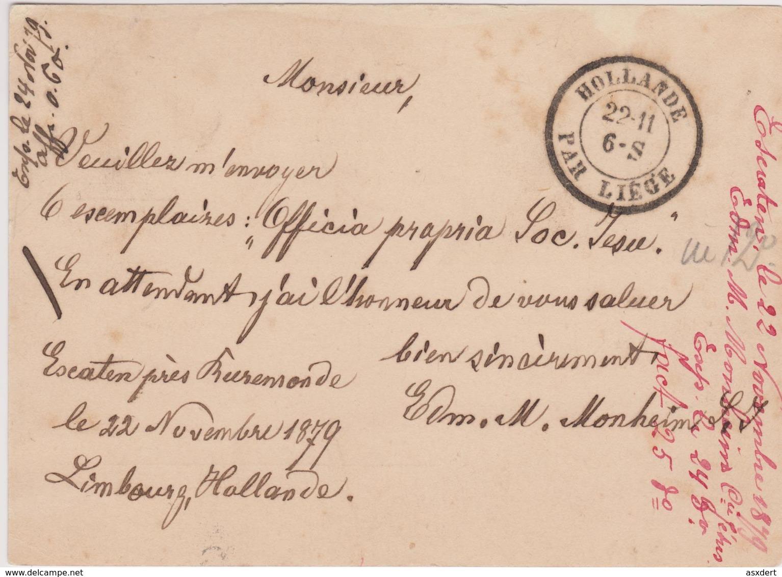 """Briefkaart 1879 Van ROERMOND Naar Malines - Belgie. Verso """"Hollande Par Liège"""" - Material Postal"""