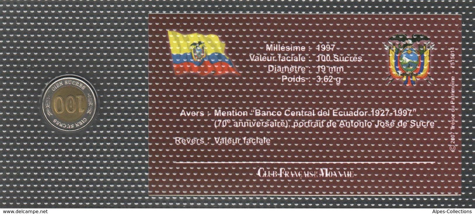0013 - 'MONNAIES BICOLORES LES PLUS RARES' - Equateur - 100 Sucres - 1997 - Equateur
