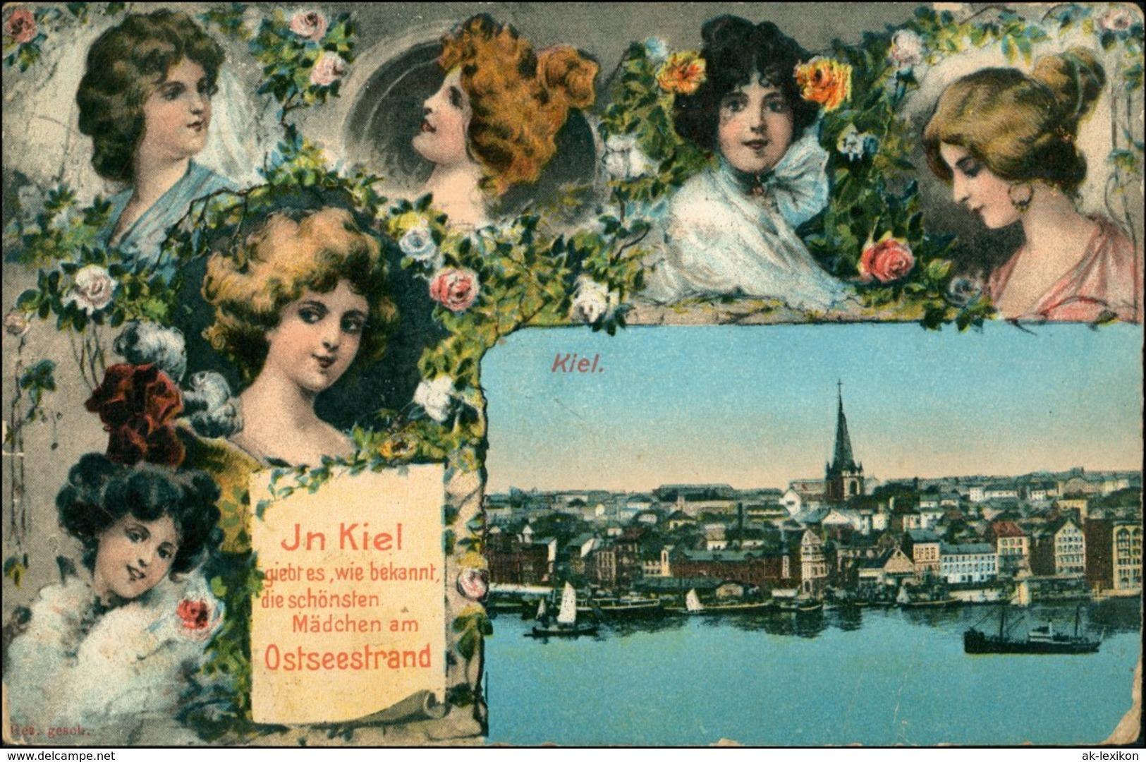 Ansichtskarte Kiel Frauenporträt: Totalansicht 1912 - Allemagne