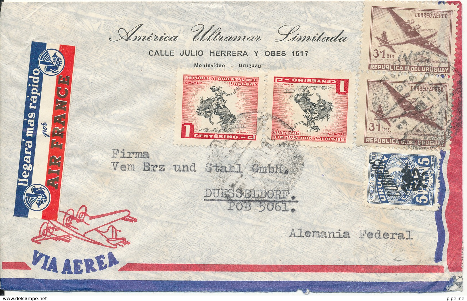 Uruguay Air Mail Cover Sent To Germany - Uruguay