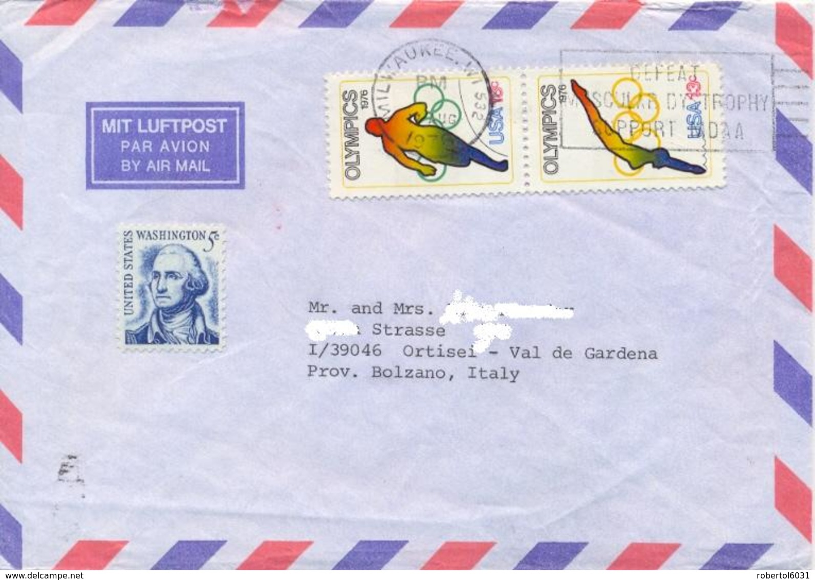 USA 1976 Cover To Italy With 2 X 13 C. Montreal Olympic Games + 1 C. Washington - Estate 1976: Montreal
