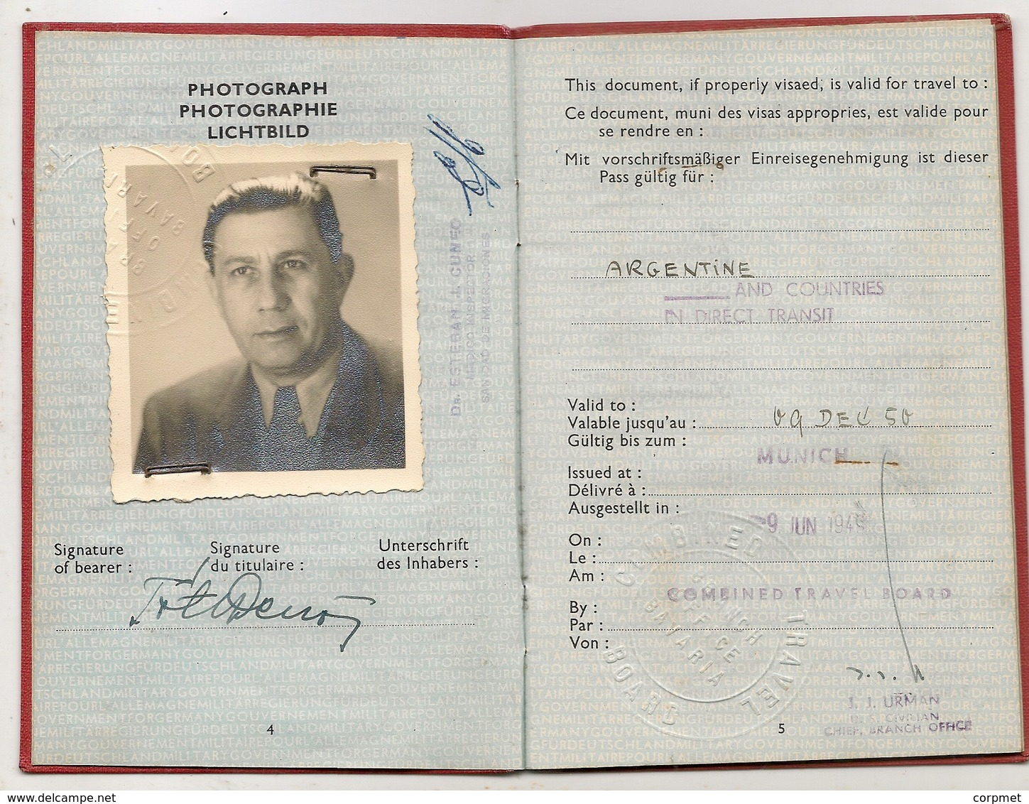 MILITARY GOVERNMENT FOR GERMANY 1949 -PASSPORT - PASSEPORT For Hungarian TOTH DEZSO Exit Permit To ARGENTINA -NOT COMMON - Historische Dokumente