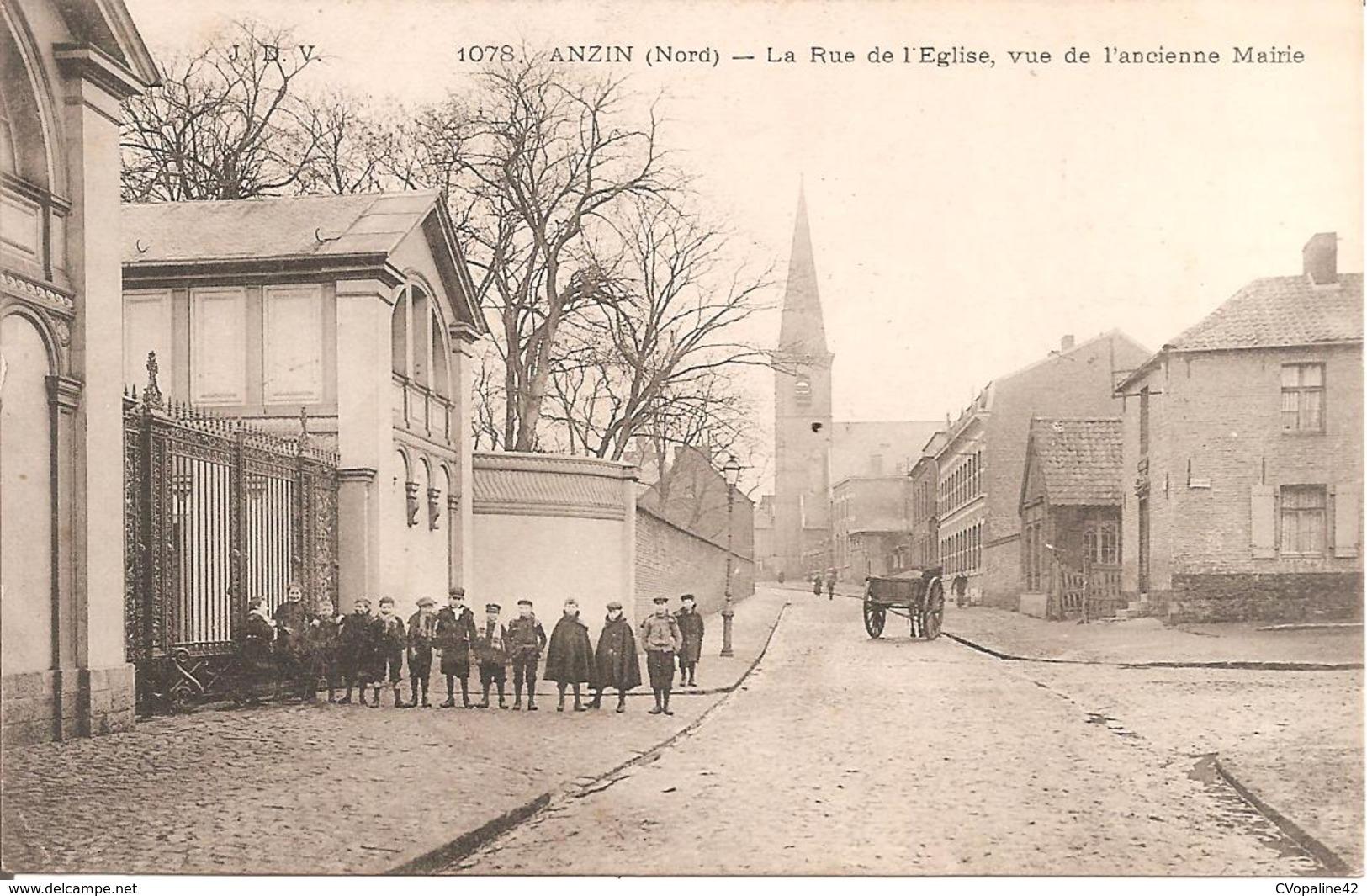 ANZIN (59) La Rue De L'Eglise , Vue De L'ancienne Mairie En 1906 - Anzin