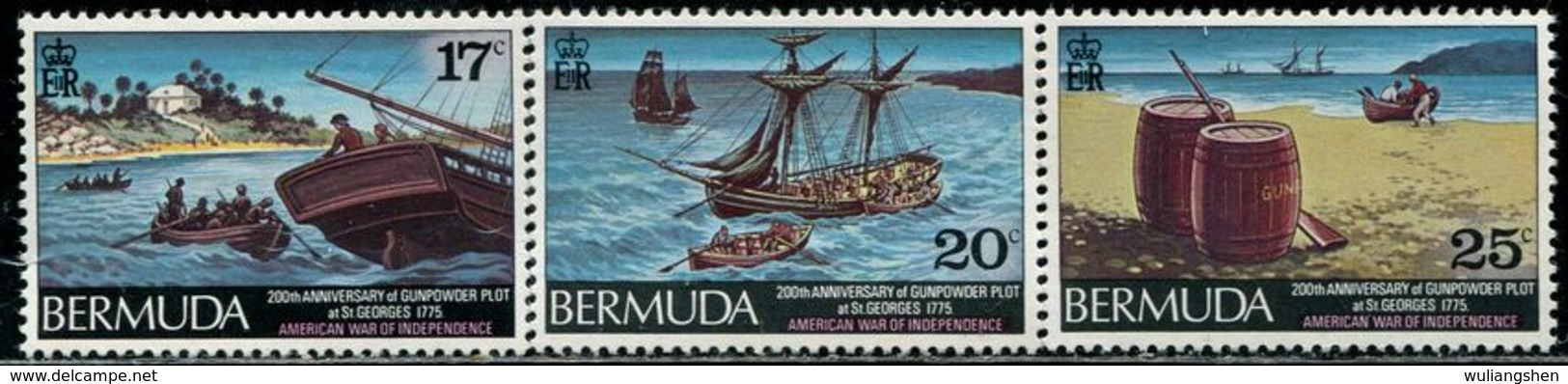AF0906 Bermuda 1975 Expedition Ship, Etc. 3V MNH - Sonstige - Europa