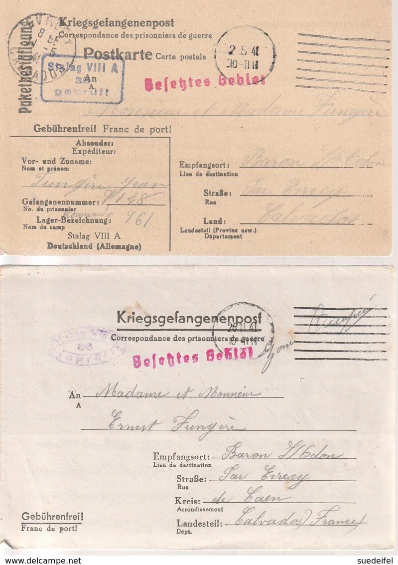 Correspondance Adressee Par Prisonier De Guerre Au Stalag  Par Baron-sur-Odon /Calvados, 2 X - Marcophilie (Lettres)