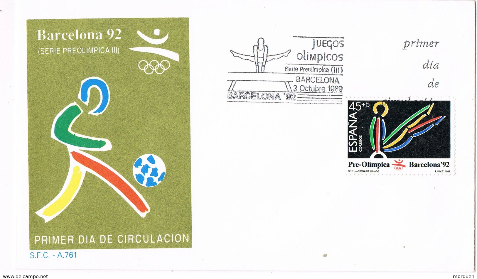 33462. Carta F.D.C. BARCELONA 1989.Juegos Olimpicos, Gimnasia, Gimnastica - 1931-Hoy: 2ª República - ... Juan Carlos I