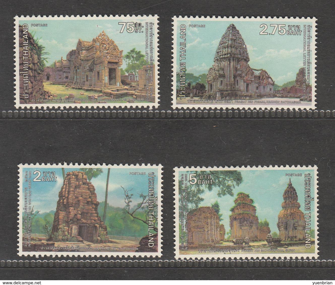 Thailand 1980, International Letter Writing Week, Set Of 4v, MNH** - Thailand