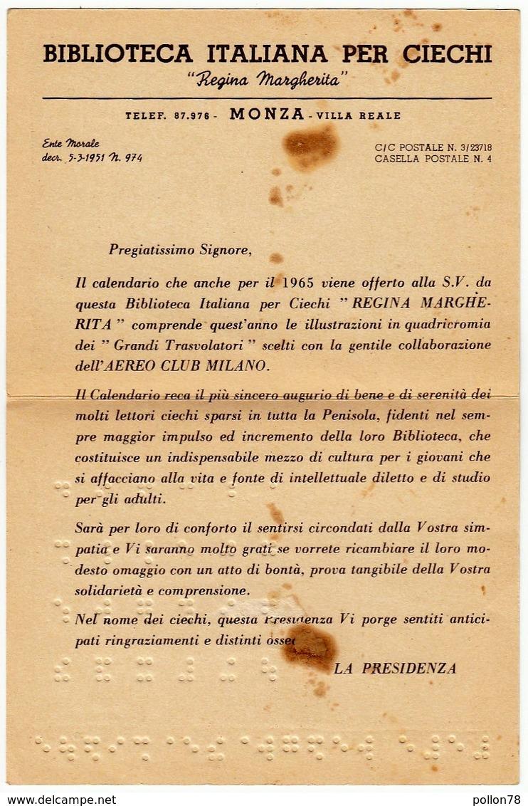 MONZA - VILLA REALE  - BIBLIOTECA ITALIANA PER CIECHI - ALFABETO BRAILLE - PIEGHEVOLE - VEDI SCANSIONI - Vecchi Documenti