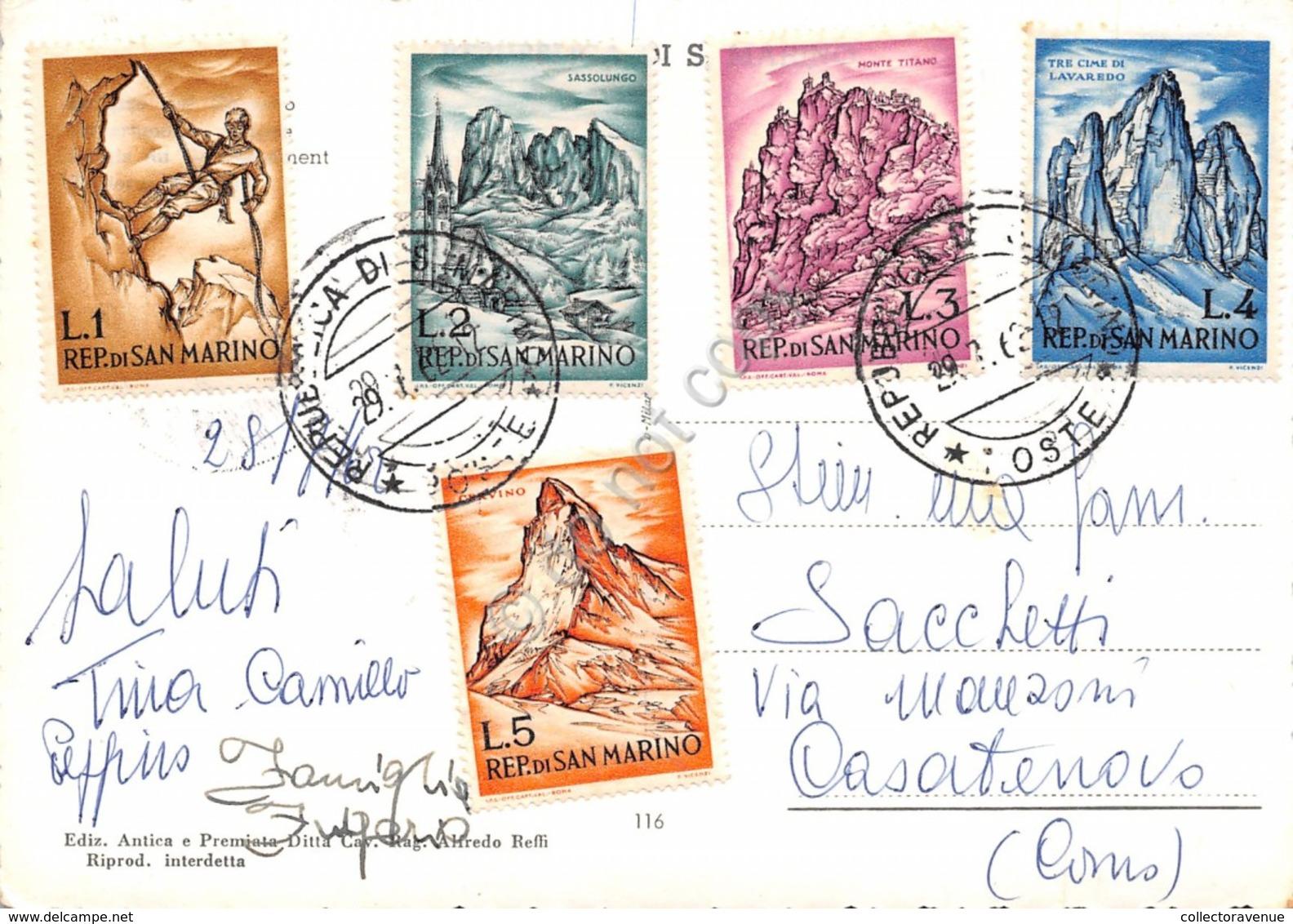 Cartolina Repubblica Di San Marino Francobolli Al Retro VG - San Marino