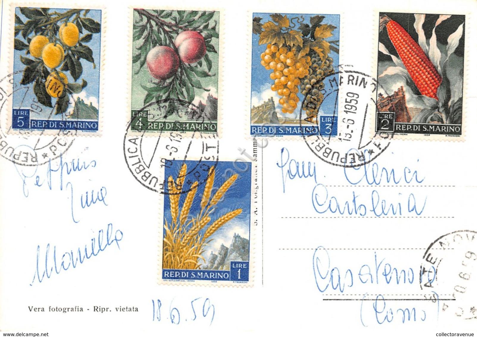 Cartolina Repubblica Di San Marino La Rocca Francobolli Al Retro 1959 - San Marino